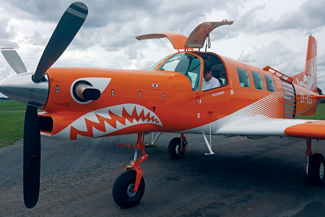 The skydiving P-750 has been given a very striking lick of paint.