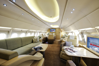 Operated by Tyrolean Jet Services, the Airbus ACJ319 features lounge areas at the front, a bedroom with ensuite bathroom in the middle, and additional seating at the back.