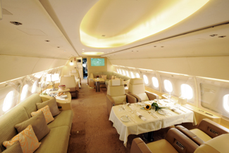 The Airbus ACJ319 on display at this year's NBAA is operated by Tyrolean Jet Services and is offered for vvip charter.