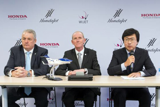 From left: Simon Roads, senior division director of sales, Honda Aircraft Company, Patrick Hersent, CEO, Wijet and Michimasa Fujino, CEO, Honda Aircraft Company.